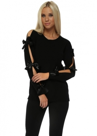 Black Satin Bow Slit Sleeve Jumper