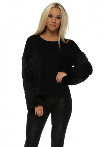 Fluffy Sleeve Distressed Black Jumper