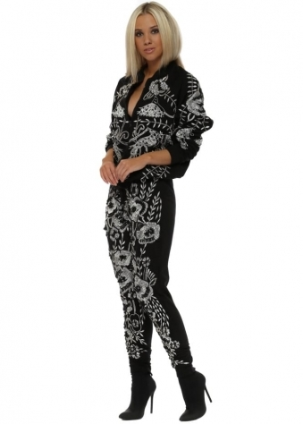 EXCLUSIVE Beaded Embroidered Embellished Black Tracksuit