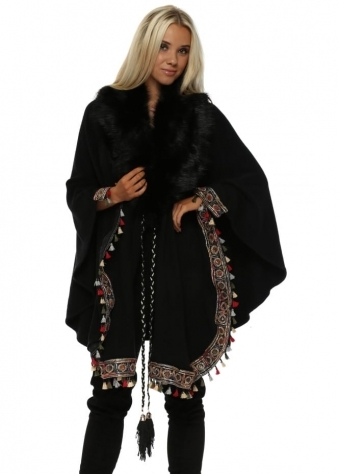 Black Luxe Faux Fur Cape With Embellished Boho Trim