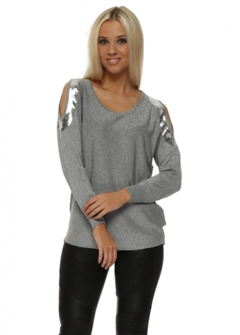 Silver Lurex Sequinned Cold Shoulder Jumper