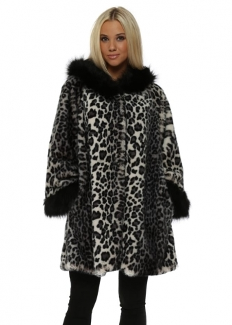 Grey Leopard Luxe Faux Fur Hooded Swing Coat