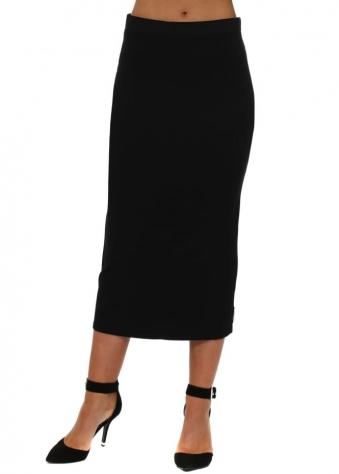 Black Jersey Column Pencil Skirt