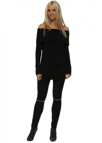 Flasher Zip Detail Black Jersey Leggings