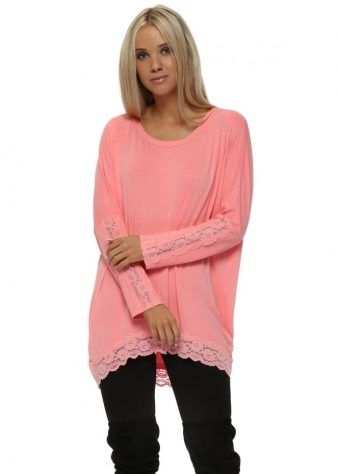 Patsy Coraline Lace Insert Trimmed Tunic Top