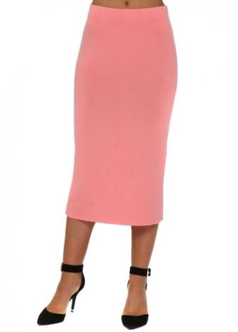 Coraline Jersey Column Pencil Skirt