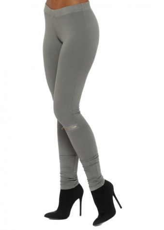 Flasher Zip Detail Thunder Jersey Leggings