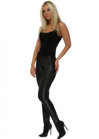 Black Leather Effect Stretch Fit Skinny Racer Jeans