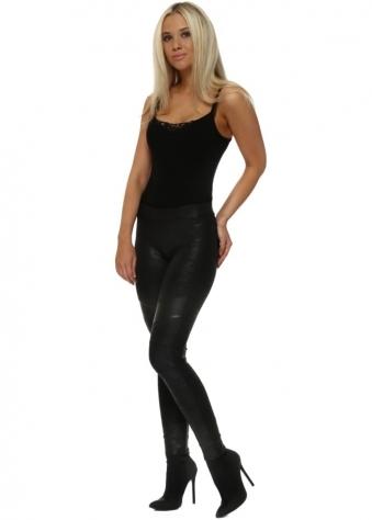 Black Leather Effect Biker Skinny Jeggings