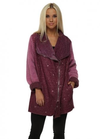 Raspberry Sequinned Biker Style Textured Coat