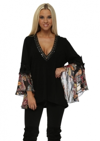 Black Silk Paisley Cuffs Embellished Black V Neck Jumper