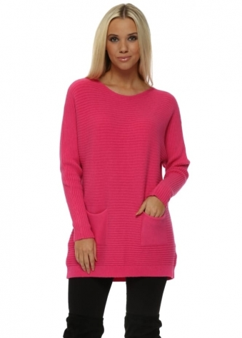 Hot Pink Ribbed Relaxed Style Two Pocket Jumper