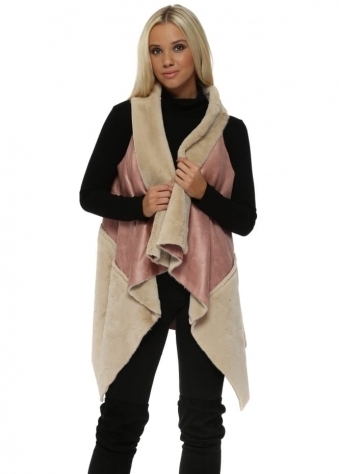 Long Gilet In Two Tone Pink Faux Shearling