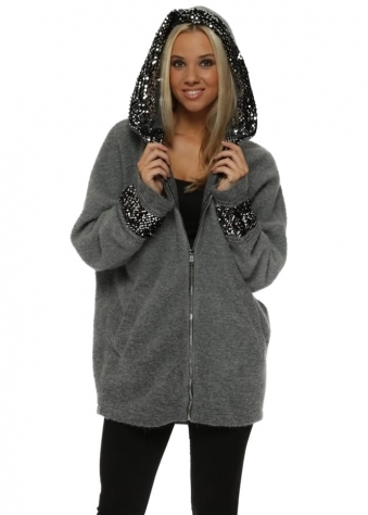 Grey Fluffy Knit Sequinned Hooded Jacket