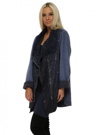Blue Sequinned Biker Style Textured Coat