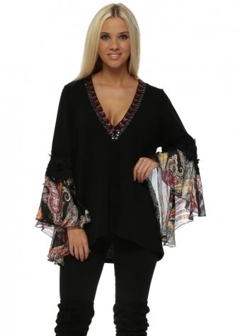 Black Silk Paisley Cuffs Embellished Red V Neck Jumper