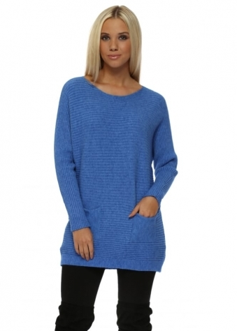 Bright Blue Ribbed Relaxed Style Two Pocket Jumper