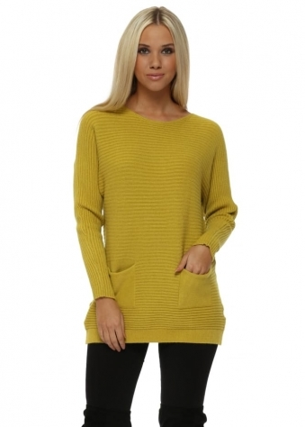 Lime Ribbed Relaxed Style Two Pocket Jumper