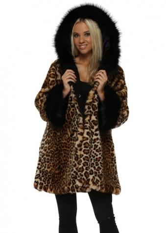 Classic Leopard Luxe Faux Fur Hooded Coat