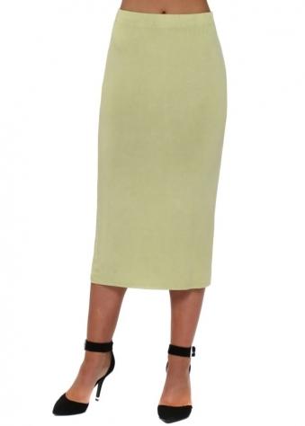 Golden Lime Jersey Column Pencil Skirt