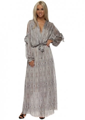 Beige Print Bow Tie Cross Over Chiffon Maxi Dress