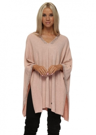 Baby Pink Studded Knitted Poncho
