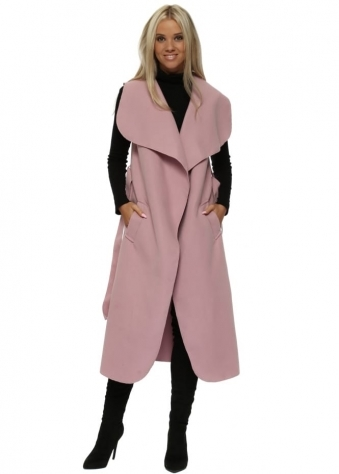 Pink Tie Front Waterfall Shawl Collar Long Gilet