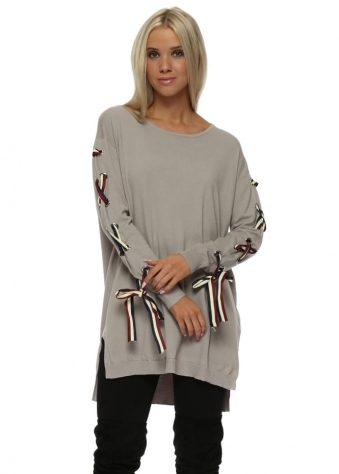 Beige French Ribbon Sleeve Tunic Jumper