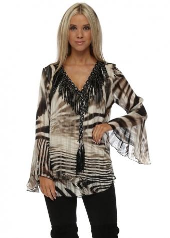Zebra Stripe Tassel Neck Fluted Cuff Blouse
