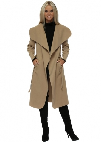 Camel Tie Front Shawl Collar Waterfall Coat