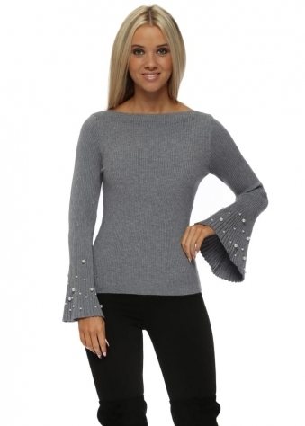 Grey Ribbed Jumper With Pearl Fluted Sleeve
