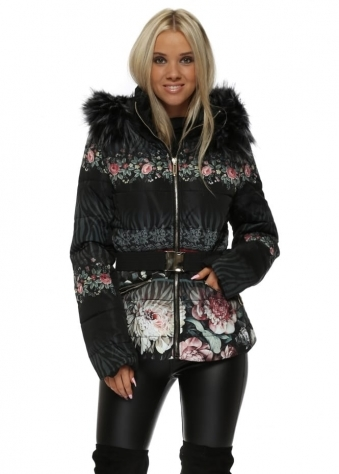 Black Floral Print Quilted Faux Fur Hooded Jacket
