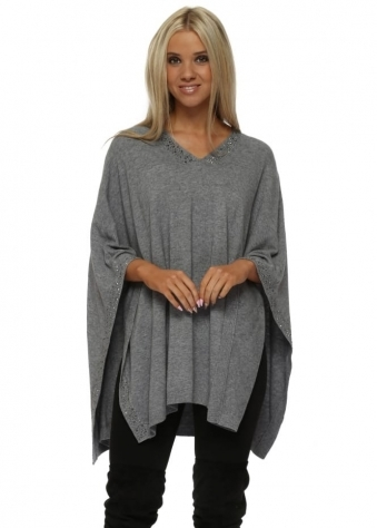 Soft Grey Studded Knitted Poncho