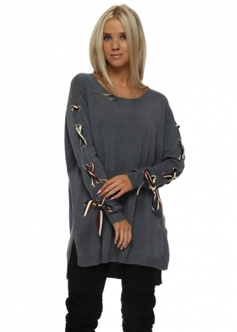Grey French Ribbon Sleeve Tunic Jumper