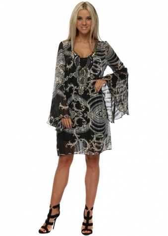 Black & Beige Rococo Print Boho Embellished Dress