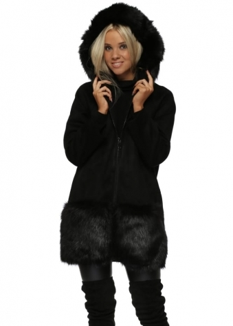 Black Suedette & Faux Fur Trim Hooded Coat