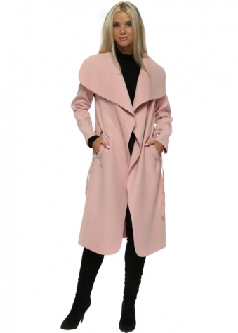 Pink Tie Front Shawl Collar Waterfall Coat