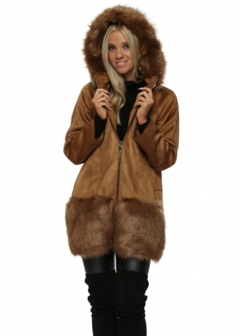 Tan Suedette & Faux Fur Trim Hooded Coat