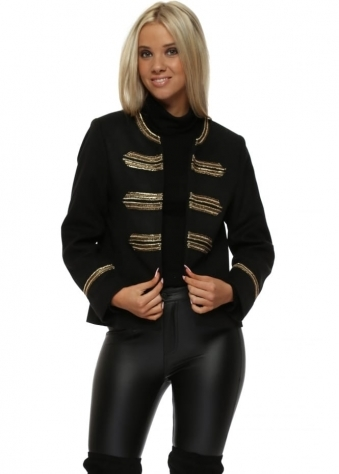 Black Military Jacket With Gold Braid