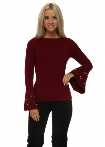 Burgundy Ribbed Jumper With Pearl Fluted Sleeve