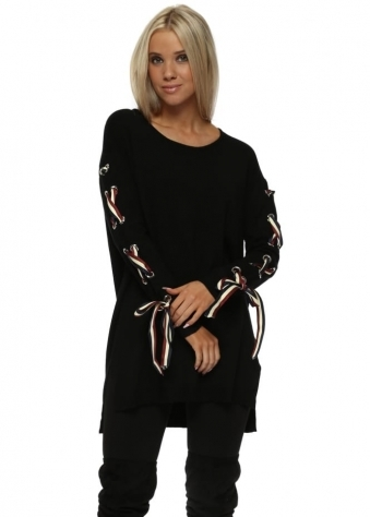 Black French Ribbon Sleeve Tunic Jumper