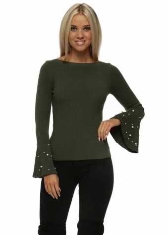 Khaki Ribbed Jumper With Pearl Fluted Sleeve