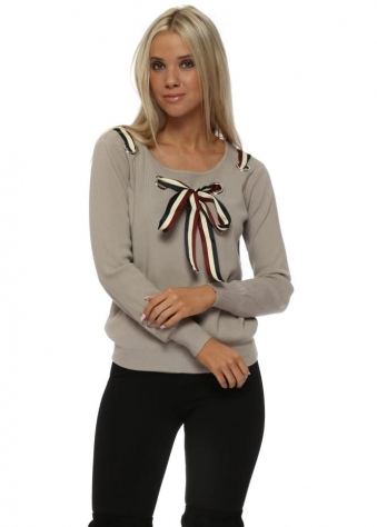 French Bow Loop Front Beige Jumper