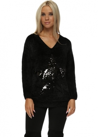 Black Chenille Sequinned Star Jumper