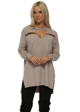 Mocha Safety Pin Oversized Jumper