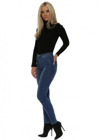 Mid Blue Stretch Fit Skinny High Waisted Jeans