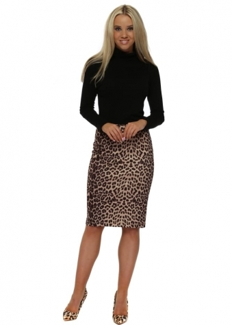 Leopard Print Faux Nappa Pencil Skirt