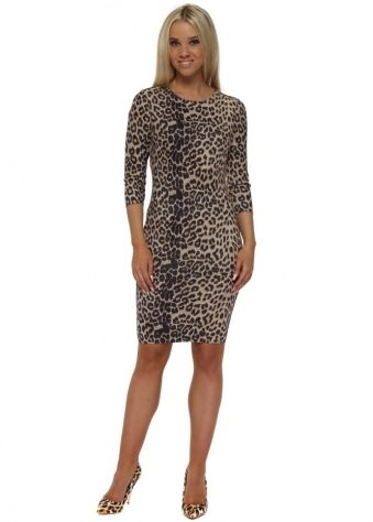 Leopard Print Faux Nappa Pencil Dress