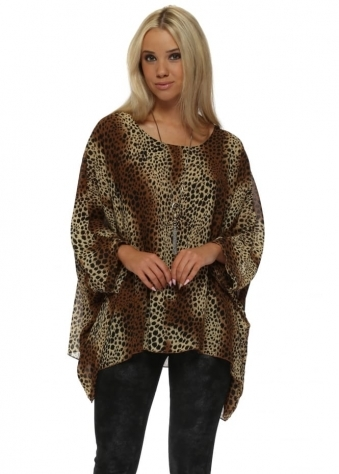 Brown Cheetah Print Floaty Necklace Top