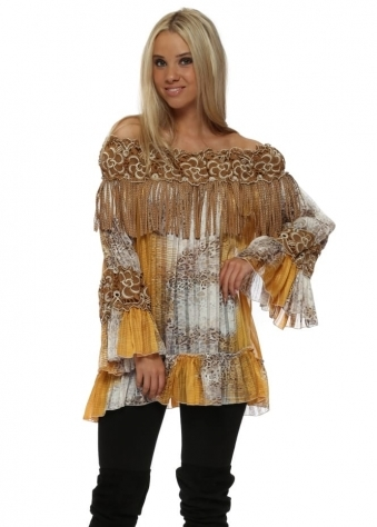 Stud Leather Tassel Gold Leopard Print Off The Shoulder Top